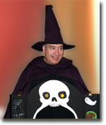 Dave brown in his close-up halloween wizard costume